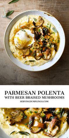 Vegetarian Polenta Recipes, Veggie Recipes, Veggie Dinners, Cooking Recipes, Healthy Recipes, Polenta With Mushrooms, Best Sauteed Mushrooms, Mushroom Polenta, Recipes