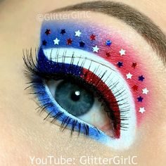 "GlitterGirlC on Instagram: ""Happy 4th of July! ❤️ TUTORIAL on my YouTube channel ""glittergirlc"", (direct link in bio)  See products used, in previous post """