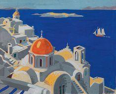 Κοντόπουλος Αλέκος – Alekos Kontopoulos [1904-1975] | paletaart – Σαντορίνη. Greece Painting, Greek Culture, My Roots, Crete, Exterior, Explore, Paintings, Exploring, Outdoors