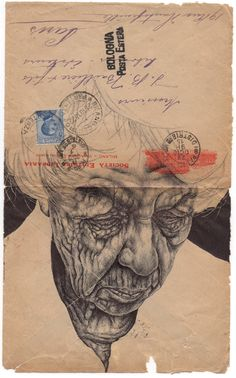 Bic Biro drawing on 1915 envelope. by mark powell bic biro drawings Biro Art, Ballpoint Pen Drawing, Collages, Drawing Sketches, Art Drawings, Amazing Drawings, Mark Powell, Tinta China, Envelope Art