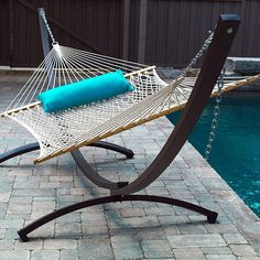 Rope Hammocks can be the perfect addition to an outdoor patio space. Get yourself a rope hammock and a hammock stand today. Rope Hammock, Diy Hammock, Hanging Hammock Chair, Outdoor Hammock, Hammock Stand, Outdoor Beach Decor, Hatteras Hammocks, Pawleys Island Hammock, Hammocks For Sale