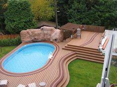 Semi inground pool landscaping ideas swimming pool decks above ground designs tiny backyard - Luxury above ground pools ...