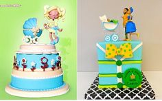 vintage baby carriage cakes by Molly Coppini left,  Artylicious Cakes right