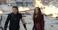 Elizabeth Olsen and Jeremy Renner in Captain America Civil War