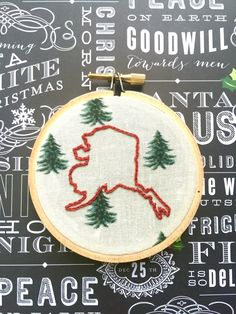A personal favorite from my Etsy shop https://www.etsy.com/listing/478177939/state-love-3-hand-embroidery-christmas