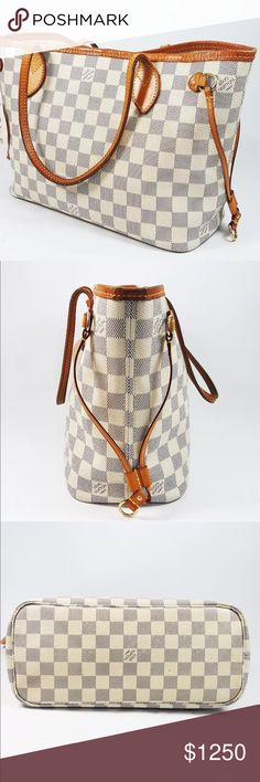 Authentic Louis Vuitton Never Full PM Azur Great Pre Owned Condition! Some signs on wear on the inside with normal spots from usage. Very light wrinkling on areas of leather but overall in fantastic condition! Manufactured in France. W 14.9 x H 8.6 x D 5.1 Louis Vuitton Bags Totes