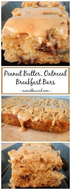 Peanut Butter, Oatmeal Breakfast bars are a great way to use up ripe bananas…