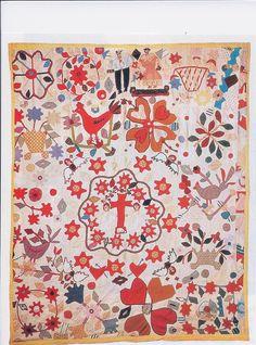 antique quilts with an applique vase   antique african-american applique quilt