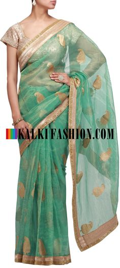 Buy Online from the link below. We ship worldwide (Free Shipping over US$100) http://www.kalkifashion.com/green-saree-with-embroidered-butti-7891.html Green saree with embroidered butti