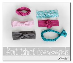 Knit Headbands from tshirts - these are simple to make and easy to wear - - the instructions for all of the varieties are included in the tutorial!  One is even completely no-sew!