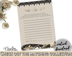 Brown And Beige Seashells And Pearls Bridal Shower Theme: Who Am I Game - guessing trivia, satin sheets bridal, party planning - 65924 - Digital Product bridal shower wedding bride to be bridesmaids