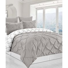 Duck River Textile Gray Reversible Pintuck & Printed Duvet Set ($50) ❤ liked on Polyvore featuring home, bed & bath, bedding, duvet covers, grey duvet cover set, grey shams, grey pillow shams, grey bedding and gray shams
