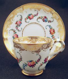 Fine Antique Coalport Tea Cup and Saucer - Sevres-Style
