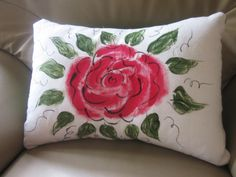 Accent Cushion- Hand painted Hand Painted Fabric, Fabric Painting, Cushions, Throw Pillows, Dressmaking, Painting On Fabric, Toss Pillows, Toss Pillows, Pillows