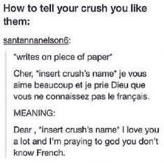My crush actually knows French soooooo.>> I did this, his friend knew French, it didn't end well. <<< I don't have a crush but that's a pretty funny idea lol Funny Quotes, Funny Memes, Jokes, Wtf Funny, Writing Tips, Writing Prompts, Love You A Lot, Funny Pins, Funny Stuff