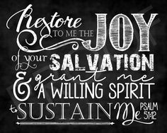 Scripture Art  Psalm 51:12  Chalkboard by ToSuchAsTheseDesigns