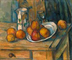 Paul Cézanne (French, Post-Impressionism, January 19, 1839–1906): Still Life with Milk Jug and Fruit, c. 1900. Oil on canvas, 45.8 x 54.9 cm (18-1/16 x 21-5/8 inches). National Gallery of Art, Washington, D.C., USA.