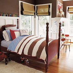 The room that was the inspiration for ryder's room.  Brown walls, white wainscoting and red as the accent color.