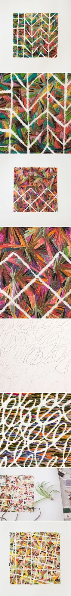 emily barletta - embroidery on paper                                                                                                                                                                                 More