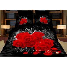 3D černé ložní povlečení s červenými růžemi - dumdekorace.cz Bed Sets, Bedding Sets, Dark Eye Circles, Bedding