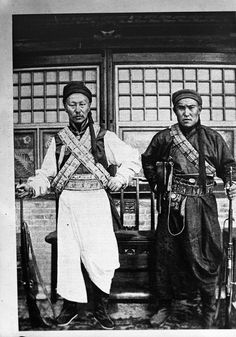 """[unk bolt-action rifles, but def Mauser C96 or Shanxi Type 17 (C96 copy) on righthand man's hip] """"Images of high monks, lamas, religious figures and religious noblemen and noble women [1920s-1930s]"""":"""