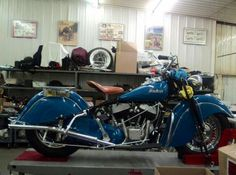 A gorgeous fresh restoration of a '48 Indian chief in sea foam blue.