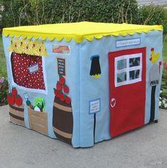 Farm Stand Card Table Playhouse - like the felt/velcro fruit/vegs, mailbox, open/closed sign