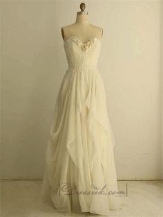 Organza Soft Silk Sweetheart Pleated Column Wedding Dresses