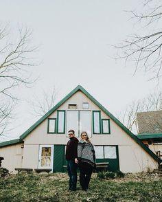 Nebraska engagement session in front of A-Frame house. #nebraskaweddingphotographer #omahaweddingphotographer