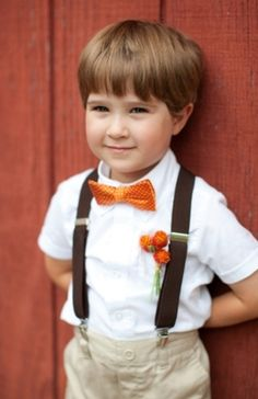 Flower Girls & Ring Bearers: Bright orange bow tie is the way to go // by Liz and Ryan on Heart Love Weddings