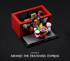 This Man's Chapter-by-Chapter Harry Potter Lego Creations Are INSANELY Good Chapter Aboard the Hogwarts Express The lunch trolley came rattling along the corridor and Harry bought a large stack of Cauldron Cakes for them to share. Lego Harry Potter, Harry Potter Goblet, Harry Potter Friends, Images Harry Potter, Legos, Lego Table Ikea, Cauldron Cake, Lego Activities, Goblet Of Fire