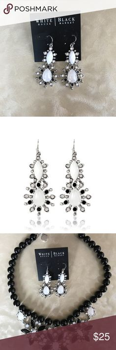 White House Black Market Earrings, NWT Beautiful white opal glass and jet double drop earrings from WHBM.  Matching necklace sold in separate listing. White House Black Market Jewelry Earrings