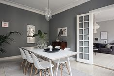 Living Room : Beautiful grey living space - via Coco Lapine Design Grey Dining Room Paint, Grey Walls Living Room, Dining Room Walls, Dining Room Design, Grey Kitchen Floor, Black And White Furniture, Gravity Home, Light Grey Walls, Grey Flooring