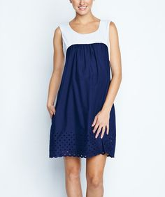 White & Navy Eyelet Maternity Shift Dress by Maternal America, $70 !!   #zulily #zulilyfinds