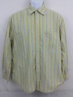 U.S. Polo Assn. Long Sleeve Mens Striped Yellow Button Front Large 100% Cotton #USPoloAssn #ButtonFront