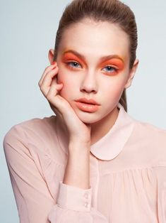 Winter's Dramatic Look: Bright Orange Eye Makeup and Manicure#eye shadow#nail polish