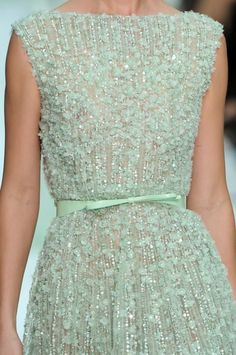 Mint green beaded Elie Saab at Couture Spring 2012 dress Elie Saab Couture, Couture Mode, Couture Fashion, Runway Fashion, High Fashion, Dress Fashion, Mint Dress, Dress Up, Bts Mode