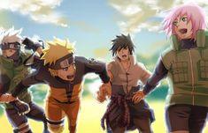 Hatake Kakashi, Uzumaki Naruto, Uchiha Sasuke and Haruno Sakura Naruto Team 7, Naruto And Sasuke, Fan Art Naruto, Anime Naruto, Susanoo Kakashi, Kakashi E Sakura, Hinata, Naruto Shippuden Anime, Shikamaru