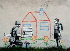 """Banksy graffiti art, """"Kid's House"""", Various Sizes, Giclee Print on Canvas Banksy Graffiti, Arte Banksy, Bansky, Banksy Canvas Prints, Canvas Paper, Street Artists, Manga, Kids House, Art For Kids"""