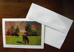 HORSE, Wild Horses, Handmade Photo Greeting Card, Mustangs, Reno NV, Coordinating Envelopes