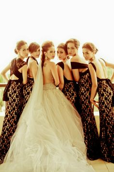 Fabulous black bridesmaids dresses all tied in a different way!