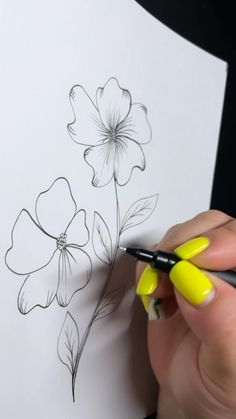 Simple Flower Drawing, Flower Art Drawing, Mandala Drawing, Easy Art Lessons, Floral Henna Designs, Doodle Art Designs, Art Painting Gallery, Flower Coloring Pages, Flower Doodles