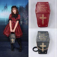 #newarrival Gothic & lolita coffin bag!  How do you love the three-way bag?? Backpack + Handbag + Cross Body bag!! Bag Code: NL-258 ➡️www.devilinspired.com #lolitafashion #lolita #devilinspiredofficial #bag #gothiclolita