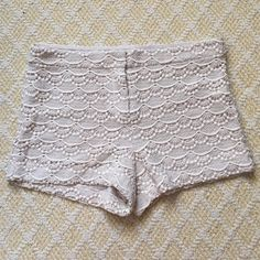 Cream Crochet Shorts Lined, cotton. Cream color. Very cute crocheted pattern.  NEVER WORN Express Shorts