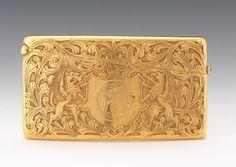 Antique Gold Card Holder, Dated Dec. 25 1908