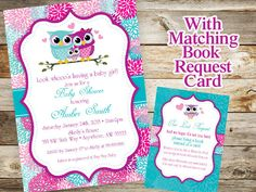 Owl Baby Shower Invitation and Book Request by JustRightDesigns954  Cute baby shower invitation that can be customized just for you.