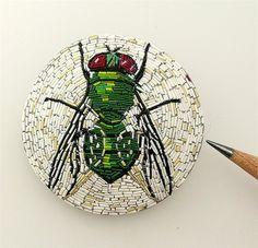 polymer clay mosaic: Calliphorid Micromosaic by malodora, via Flickr