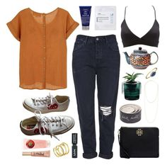 """""""Sea salt Charlotte"""" by sophiehackett ❤ liked on Polyvore featuring Converse, FrenchTrotters, Topshop, Charlotte Russe, Magenta, Tory Burch, Nude, Polish Pottery, Jennifer Zeuner and Iope"""