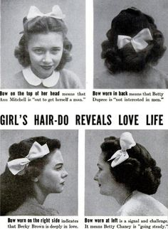 1950s hair dating guide. Good to know.