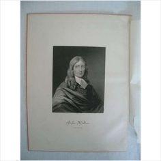 Victorian Portrait Print - John Milton - by W Hall - For Sale on eBid United Kingdom (20/6)